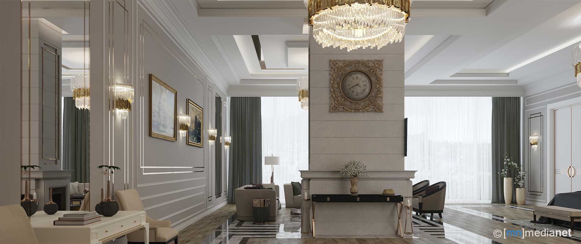 Lighting modern curtains full view open view bedroom design for private house interior architect designs complete decor