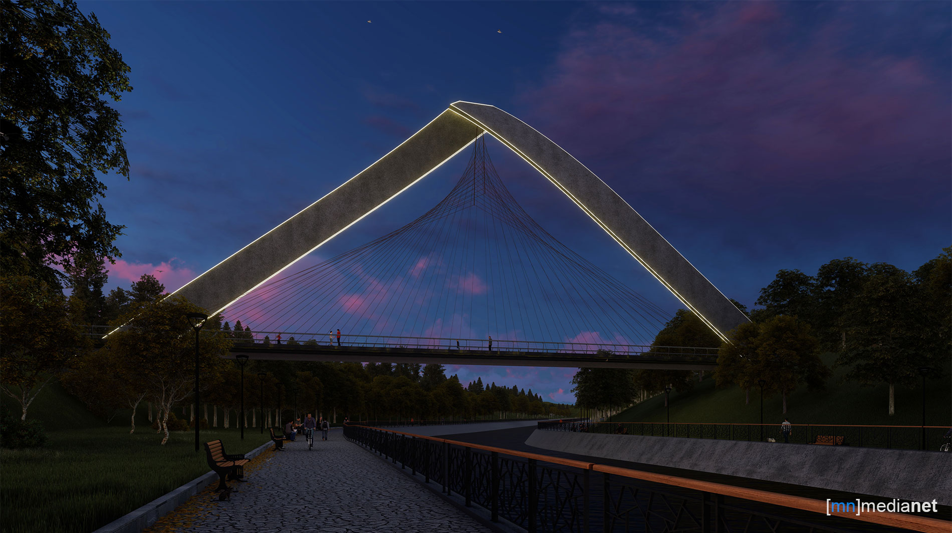 concept bridge night view