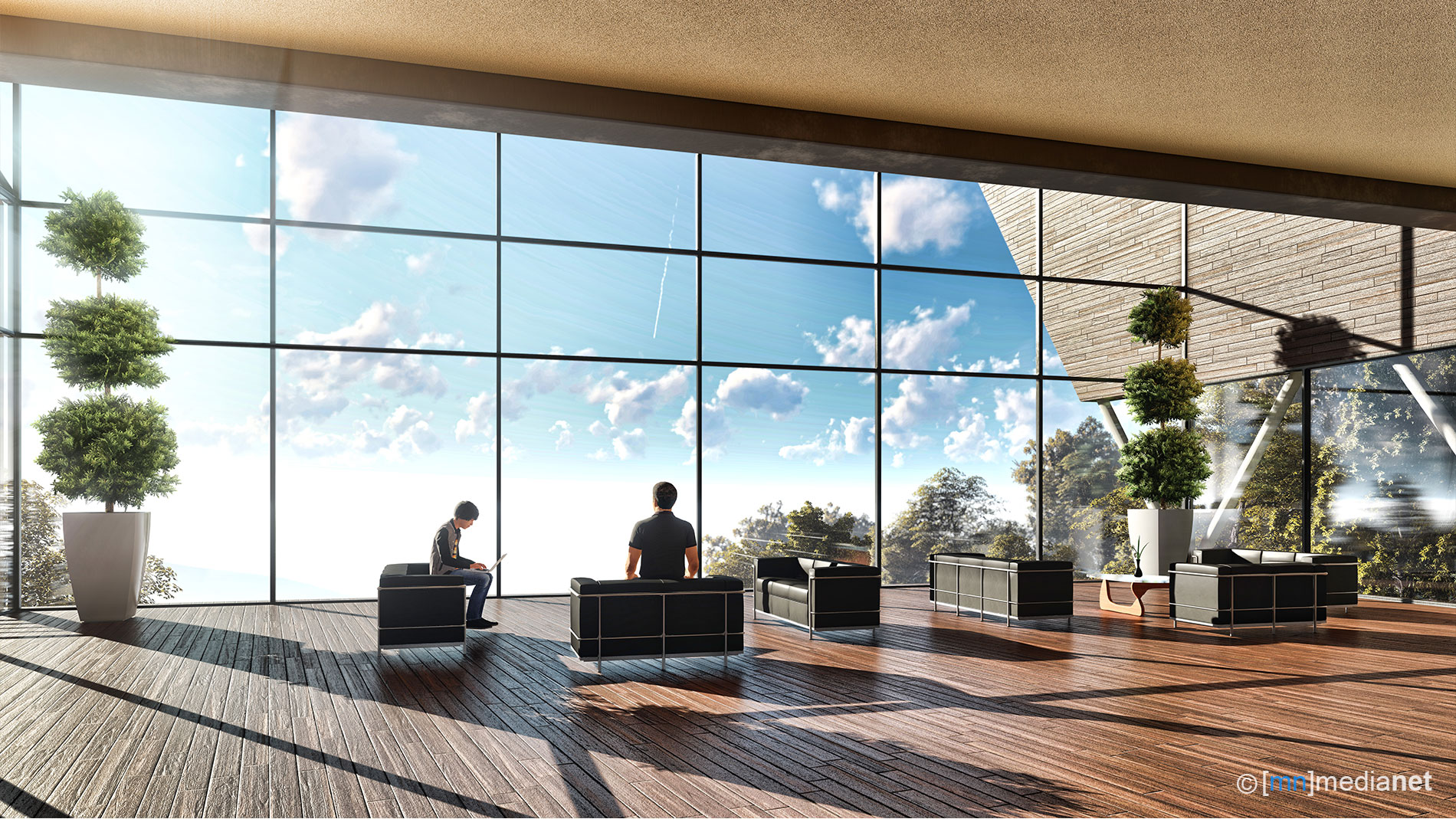 shooting range concept building with sky view sitting area